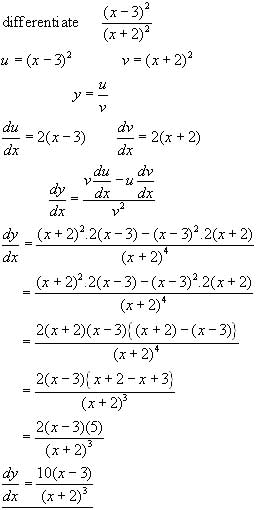 THE QUOTIENT RULE, differential calculus from A-level Maths Tutor