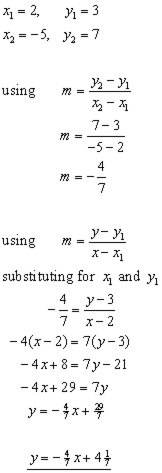 equation of a straight line from 2 points problem#2